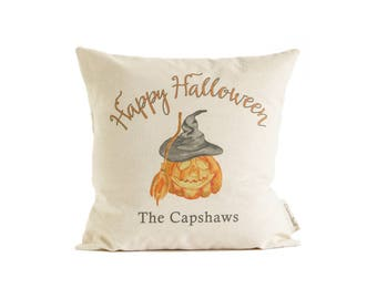 Happy Halloween Pillow,  Customized Names,  Pumpkin Halloween Decor, Halloween Party, Rustic Linen or Cotton Canvas