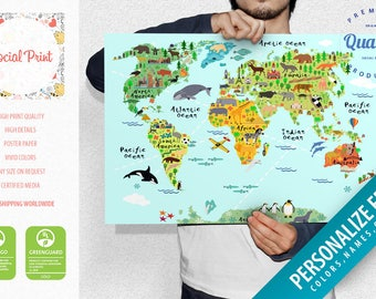 Personalized Childrens Animals World Map Poster FREE - Children's map of the world to print free