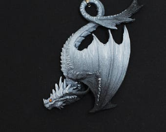 LIMITED EDITION Black and white tiger dragon white stipped darkness dragon charm necklace pendant jewellery fantasy creature