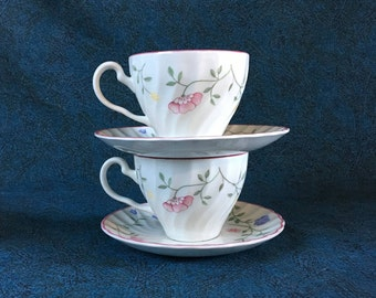 Vintage Johnson Brothers Summer Chintz Cup and Saucer, Set of 2