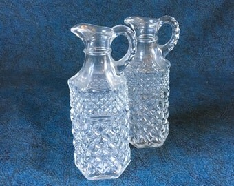 Vintage Anchor Hocking Wexford Glass Cruets, Set of 2, Oil and Vineger Bottles
