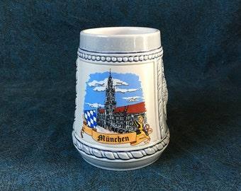 Vintage Munchen German Beer Stein, Octoberfest Tankard