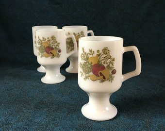 Vintage Spice of Life Milk Glass Footed Mugs, Set of 4