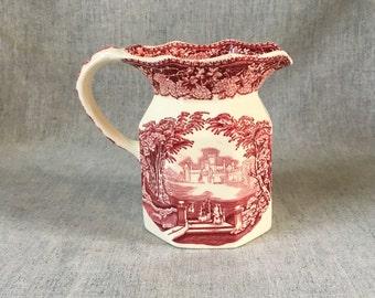 Vintage Mason's Pink Vista 22 Ounce Fenton Jug, Red Transferware