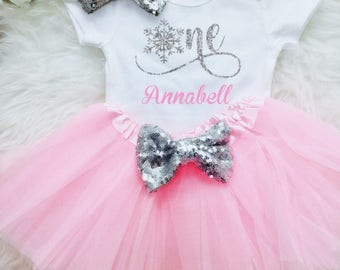 Winter Onederland Birthday Outfit  Snowflake One Birthday First Birthday Tutu Outfit 1st Birthday Girl Outfit Winter Wonderland Birthday