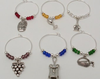 Wine Theme Wine Glass Charms, Wine Themed Wine Glass Markers, Wine Party