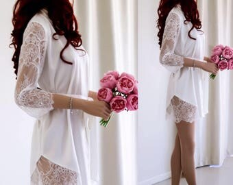 Bridal Robe, White Silk Bridal Robe, Lace Sleeve Robe, Wedding Robe Silk, Getting Ready Robe , Gift for her, Gift for Bride
