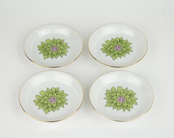 Porcelain Coasters - Small Plates - Green and Pink Floral - Jewelry Trays - Small Catch All Tray - Shabby Chic - Gift for Hostess
