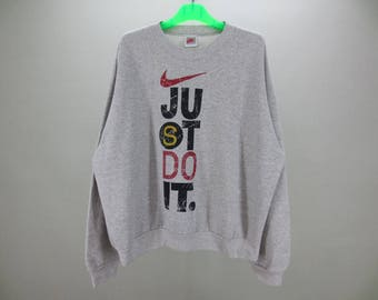 "Nike Sweatshirt Men Size L Vintage Nike Grey Tag Pullover 90s Nike Vintage Swoosh Sweats ""Just Do It"" Made in USA"