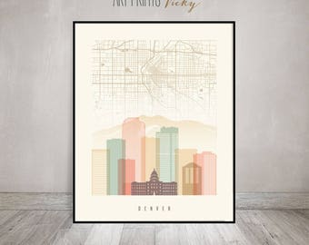 Denver City Map Print Skyline Poster | ArtPrintsVicky.com