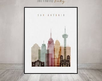 San Antonio wall art,  San Antonio art print, skyline, watercolor poster, Wall art, City print, Home Decor, Travel gift, ArtPrintsVicky