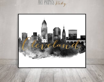 Wall art print etsy for Cleveland skyline tattoo