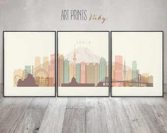Tokyo 3 pieces wall art posters by ArtPrintsVicky
