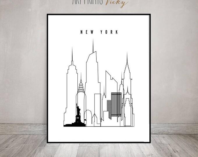 Modern wall art, New york print, minimalist black and white art, New York skyline, travel decor, travel gift, cityscape art, ArtPrintsVicky