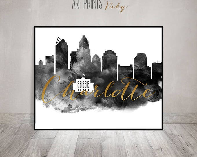 Charlotte wall art print, Black and white Poster, Charlotte skyline, travel decor, Gift, North Carolina, faux gold, ArtPrintsVicky