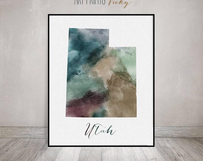 Utah state map print, Utah watercolor map, Wall art painting, Utah map poster, Utah state watercolor print fine art print ArtPrintsVicky