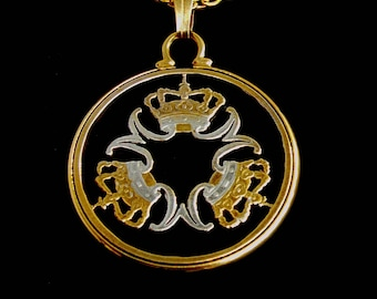 Denmark Three Crowns and Letter M's Cut Coin Pendant Danish 5 Krone Gold and Silver Plated Mounted in a Cinch Coin Holder