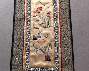 Vintage Chinese Silk Embroidery Panel-NWT Winterthur Museum And Gardens