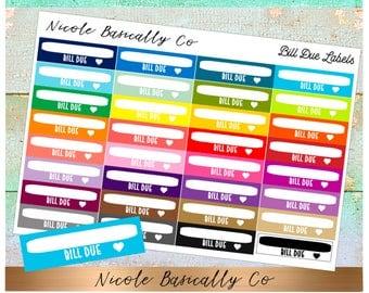 Rainbow Bill Due Labels Planner Stickers