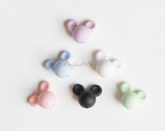 2 Certified Silicone Beads/ Silicone Mickey Mouse Bead/ Certified Silicone Bead/ Silicone Beads/ Silicone Teething Beads/ Mickey Mouse Beads