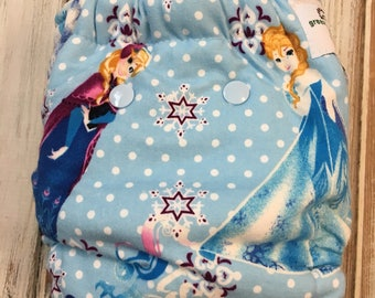 Frozen Disney Anna Elsa Hybrid Fitted Cloth Diapers OS One Size FDR Fold Down Rise - Sherpa Zorb Organic