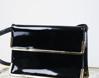 1950s Handbag - Evening Clutch - Vintage Black Patent Leather Purse - Gold Trim - Removable Arm Strap - Elegant - Excellent Condition