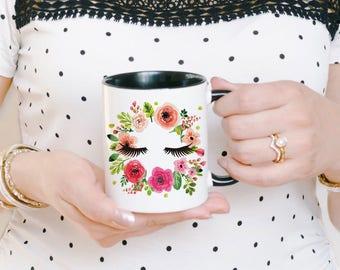 Eyelashes Mug - Blogger Mug - Makeup Mug - Makeup Lover Mug - Makeup Brush Holder - Makeup Coffee Mug - Beauty Blogger Gift