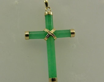 Green Jade Cross Pendant with 14k Yellow Gold