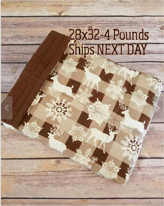 Deer, 4 Pound, WEIGHTED BLANKET, Ready To Ship, 4 pounds, 28x32, for Autism, Sensory, ADHD, Calming, Anxiety,