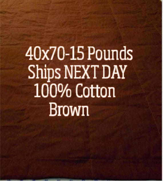 Weighted Blanket, 15 Pound, Brown, 40x70, READY TO SHIP, Twin Size, Adult Weighted Blanket, Next Business Day To Ship