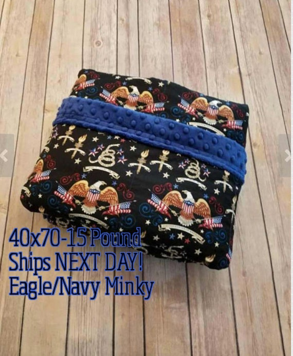 Weighted Blanket, 15 Pound, American Eagle, Navy Minky, 40x70, READY TO SHIP, Twin Size, Adult Weighted Blanket, Next Business Day To Ship