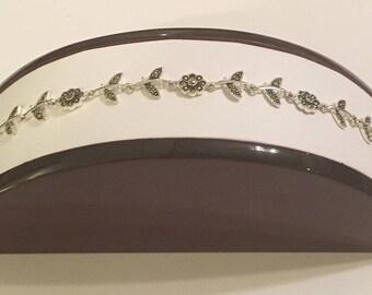 Vintage Sterling Silver 925 Marcasite Flower Floral Leaf & Stem Link Panel Bracelet