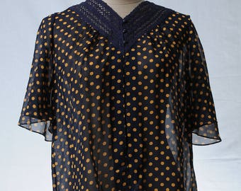 Vintage navy mustard yellow polka dot V neck blouse