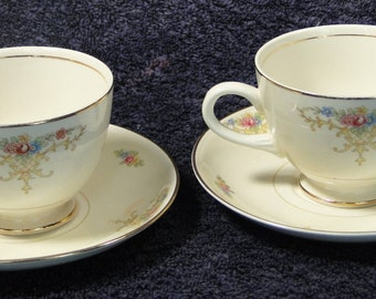 TWO Homer Laughlin Eggshell Nautilus Rochelle Teacup Saucer Sets 2 EXCELLENT!