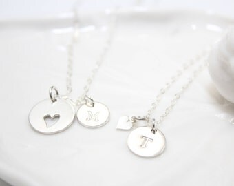 mother daughter necklaces, mother daughter necklace set, sterling silver mother daughter necklaces, mother daughter necklace set