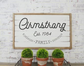 Family Name Rustic Sign, Rustic Home Decor, Farmhouse Decor, Personalized Signs, Established Date Sign, Wedding Gift, Bridal Shower Gift