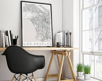 Map of Los Angeles, CA - Fits IKEA frame - Home Decor - Wall Art - Wanderlust - California Print - Travel Map - Housewarming Gift