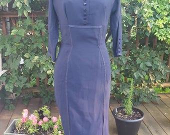 1950s Wiggle Dress By Dorthy Hubbs - Navy Wiggle Dress - Marilyn Monroe Style