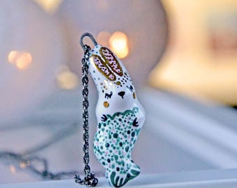 Mermaid Rabit Necklace Cute Ceramic Handcrafted Pendant Decorated with Genuine Gold
