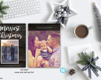 Christmas Card Template, Family Holiday Card, Rustic Holiday Card, Rustic, Seasons Greetings, Warmest Wishes, Merry Christmas, DIY, Template