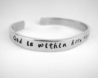 God is within her she will not fall Psalm 46:5 hand stamped aluminum bracelet adjustable cuff, hand stamped scripture bracelet, faith gift