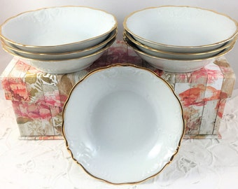 Vintage Fruit Bowls, White with Gold Trim, Embossed - Wawel China, Poland, Casa Oro Pattern, Set of 7