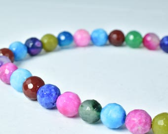 Agate Gemstone Beads 8mm Faceted Multi Stone Beads, Sold by 1 strand of  50pcs, 2mm hole opening, 33.2grams/pk