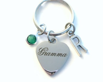 Gramma KeyChain, Grandmother Heart Key Chain, Mom Keyring, Initial birthstone present Birthday Personalized her from Grandchildren Grandkids
