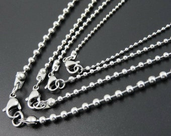 Ball Bead Stainless Steel Necklace Upgrade, DogTag You pick length 16, 18, 20, 24, 22 30 Inches Add on purchase Jewelry Supply Chain Dog Tag