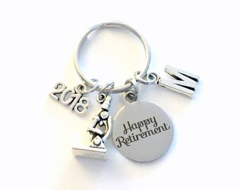 Retirement Gift for Scientist Keychain, 2018 Lab Technician Science Teacher Researcher Biologist Microscope Key chain Initial present 2019