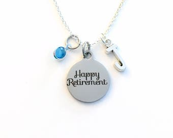 Retirement Gifts for Women Necklace, Retire Present Jewelry Charm Coworker Boss initial birthstone Happy present Pendant Career woman ladies