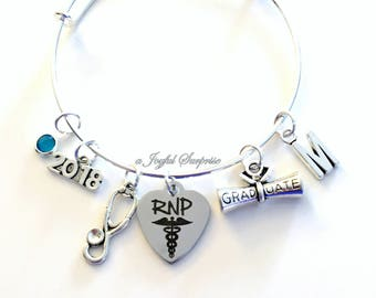 RNP Graduation Bracelet, 2018 Registered Nurse Practitioner Grad Gift for RPN Student present Silver Bangle custom 2019 charm Jewelry her