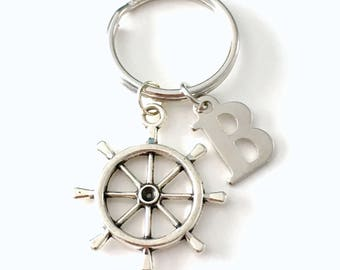 Helm Keychain, Ship Wheel Keyring, Shipwheel Key Chain Marine Gift for Men Father's Day Present, Nautical for dad Letter initial purse charm
