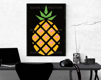 Pineapple & Flamingo Digital Prints -PineMingo- Stand tall and wear a crown Black background design Prints-NOT 1 BUT 5 unique sizes Included